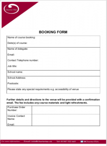 Booking form in PDF format