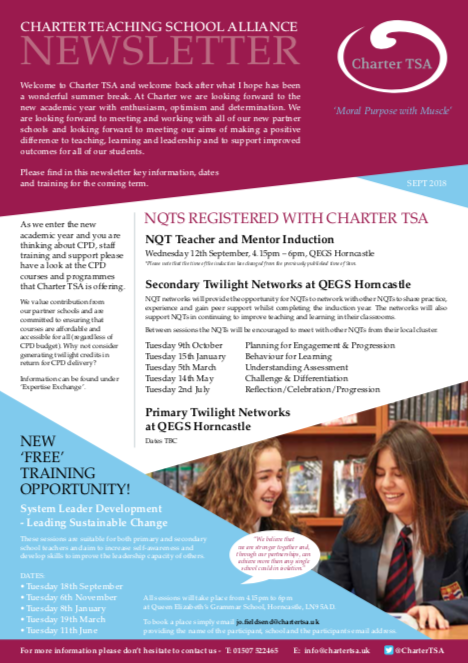 Charter TSA Newsletter Front Cover and download link